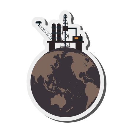 flat design earth contamination icon vector illustration Illustration
