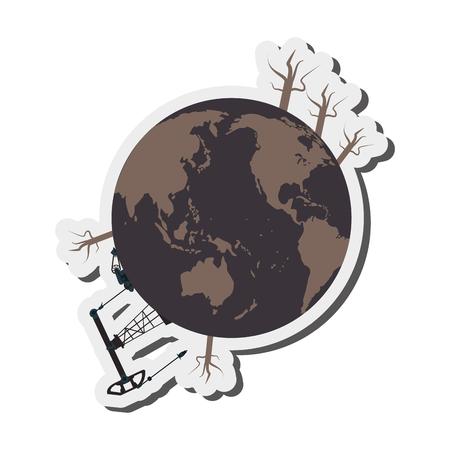 contaminacion del agua: diseño plano contaminación de la tierra de la ilustración del vector del icono