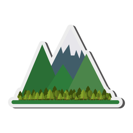 flat design mountains and forest icon vector illustration Illustration