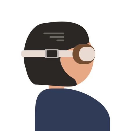 aviators: flat design person with flying goggles icon vector illustration