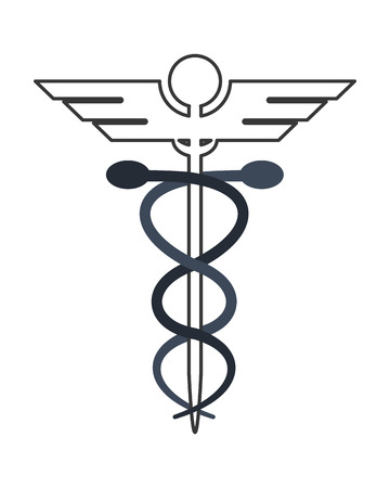 staff of aesculapius: flat design rod of asclepius icon vector illustration