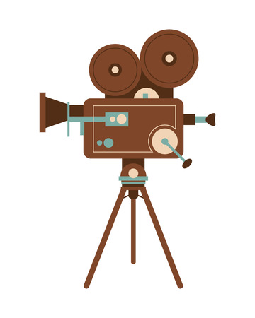cinematograph: flat design retro film projector icon vector illustration Illustration