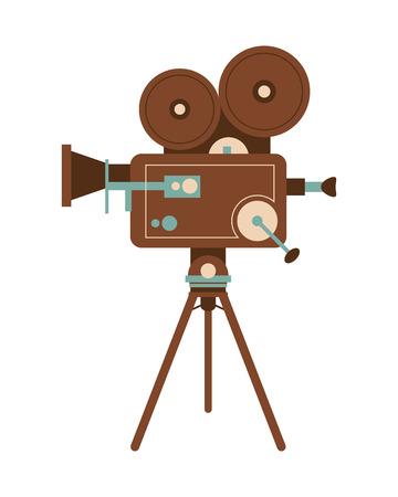cinematograph: flat design retro film projector icon vector illustration Illustration