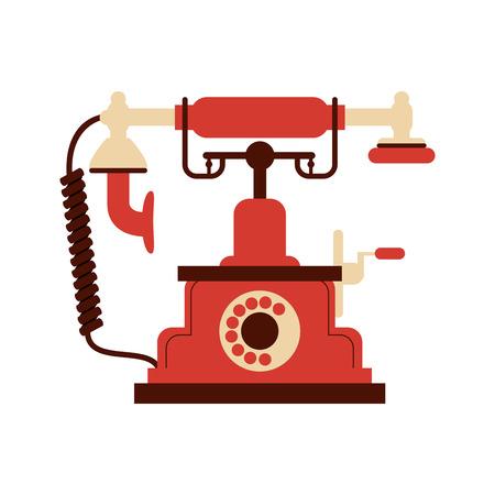 antiquated: flat design retro rotary telephone icon vector illustration