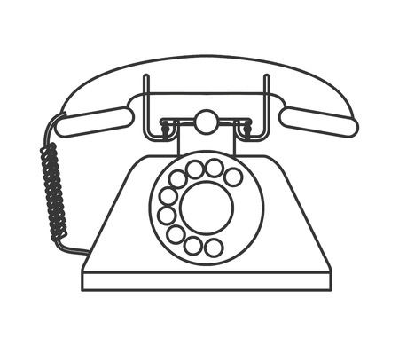 waiting phone call: flat design retro rotary telephone icon vector illustration
