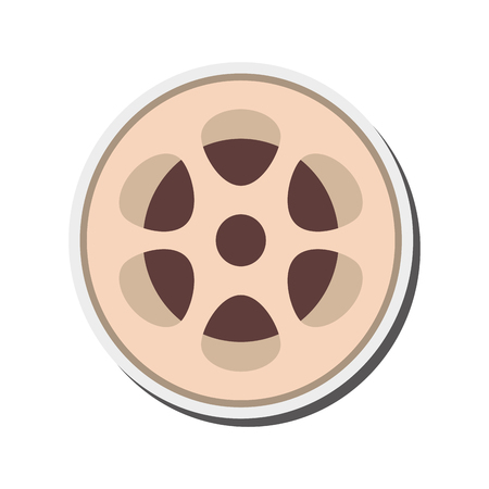 35mm film motion picture camera: flat design film reel icon vector illustration