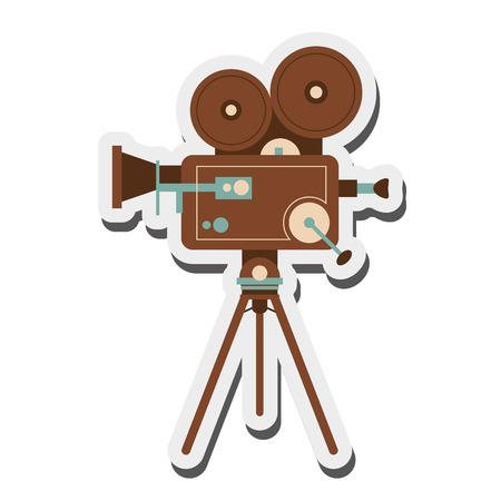 cinematographic: flat design retro film projector icon vector illustration Illustration