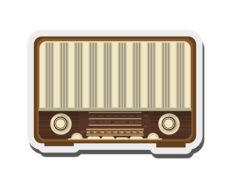 retro radio: flat design retro radio icon vector illustration