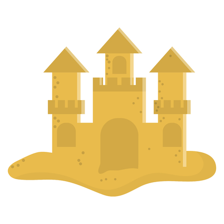 sandcastle: flat design cute sandcastle icon vector illustration Illustration