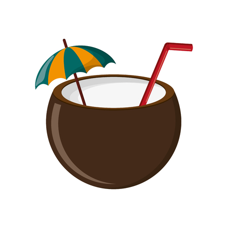 freshens: flat design coconut cocktail icon vector illustration Illustration