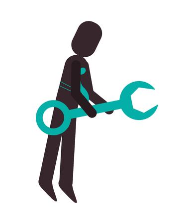 flat design businessman pictogram icon vector illustration
