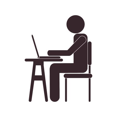 plana persona usando la computadora portátil de diseño de la ilustración del vector del icono