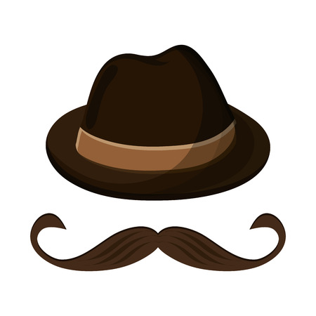 masculinity: flat design hat and mustache icon vector illustration