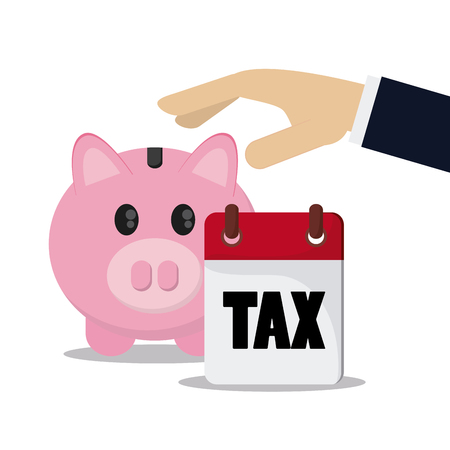 account form: Tax and Financial item concept represented by piggy and calendar icon. Colorfull and flat illustration