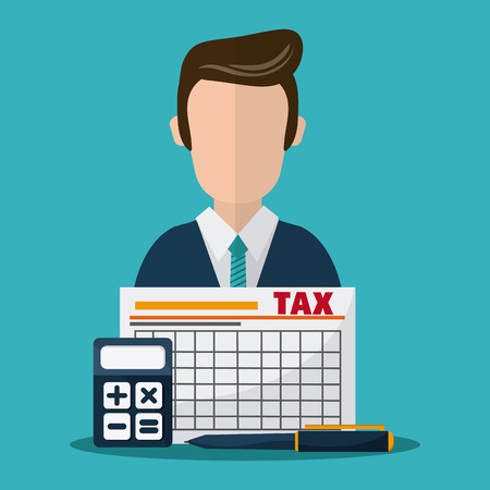 financial item: Tax and Financial item concept represented by document and avatar man icon. Colorfull and flat illustration Illustration