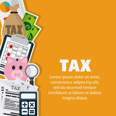 financial item: Tax and Financial item concept represented by piggy and documents icon. Colorfull and flat illustration