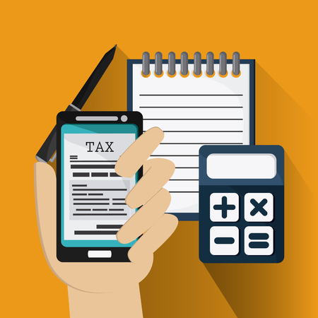 financial item: Tax and Financial item concept represented by document and smartphone icon. Colorfull and flat illustration