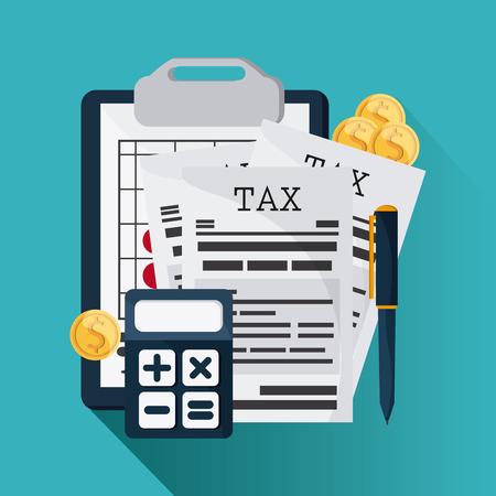 Fiscale en financiële post concept vertegenwoordigd door documenten en rekenmachine icoon. Colorfull en platte illustratie