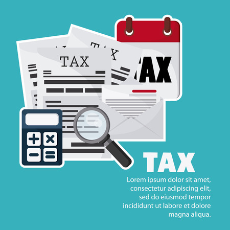 account form: Tax and Financial item concept represented by document and calculator icon. Colorfull and flat illustration Illustration