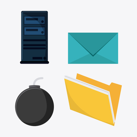 bomb threat: file bomb envelope cyber security system protection icon. Colorfull illustration. Vector graphic Stock Photo