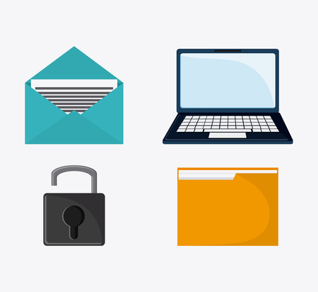fatal: laptop file padlock envelope cyber security system protection icon. Colorfull illustration. Vector graphic Stock Photo