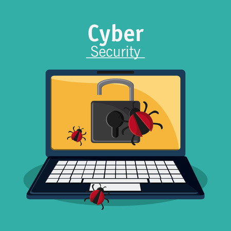 alerts: laptop padlock bug cyber security system protection icon. Colorfull illustration. Vector graphic