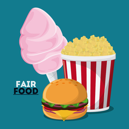 pop corn: cotton candy hamburger pop corn fair food snack carnival festival icon. Colorfull illustration. Vector graphic