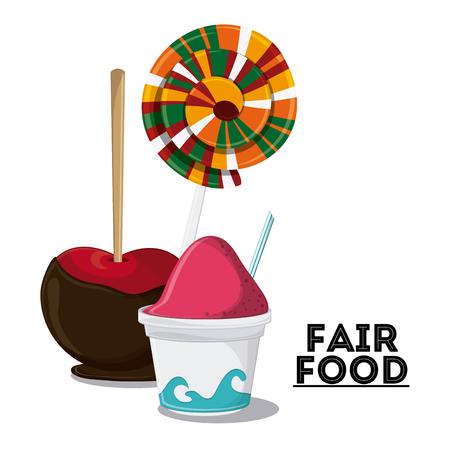 carretto gelati: gelato mela caramelle giusto spuntino icona festa di carnevale. illustrazione colorfull. grafica vettoriale