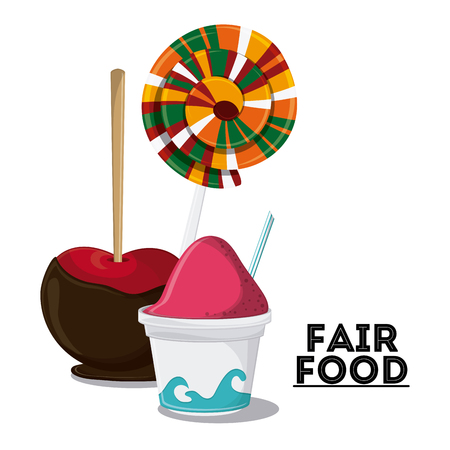 ice cream apple candy fair food snack carnival festival icon. Colorfull illustration. Vector graphic Stock Photo