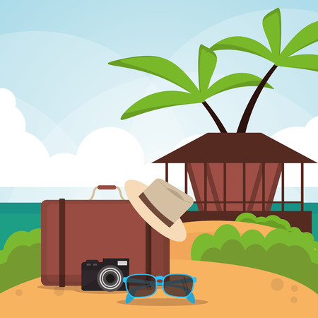 vacations suitcase glasses camera palm tree house paradise island travel icon. Colorfull illustration. Vector graphic