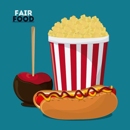 fresh pop corn: hot dog apple pop corn fair food snack carnival festival icon. Colorfull illustration. Vector graphic