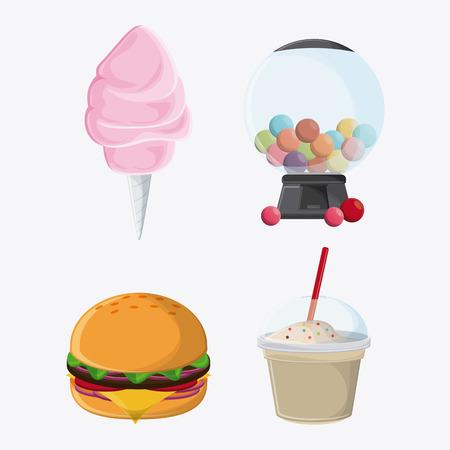 cotton candy hamburger sphere milk shake fair food snack carnival festival icon. Colorfull illustration. Vector graphic