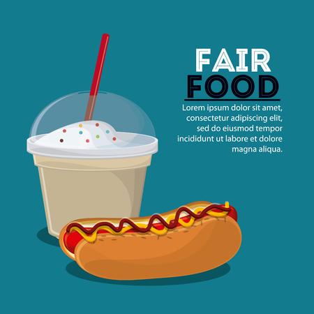 milk shake: hot dog milk shake fair food snack carnival festival icon. Colorfull illustration. Vector graphic Stock Photo