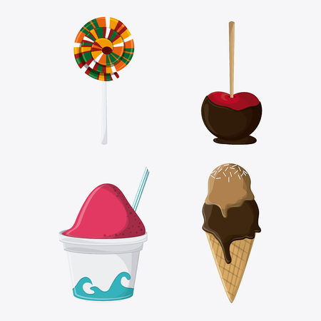 candy apple: ice cream candy apple fair food snack carnival festival icon. Colorfull illustration. Vector graphic
