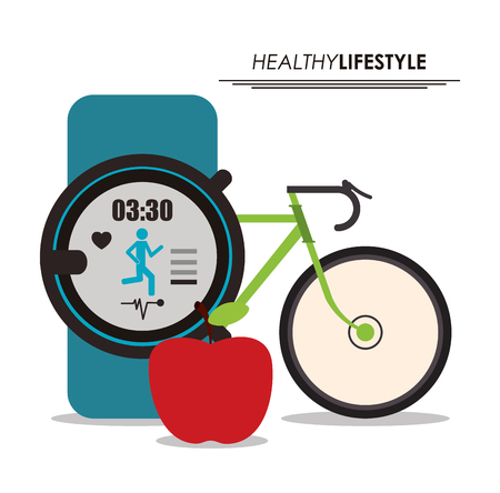 Smartphone gesunden Lebensstil Fitness-Symbol. Farbenfrohes Illustration. Vektorgrafik