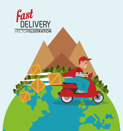 mountain pine tree planet motorcycle man box package fast delivery shipping icon. Colorfull illustration. Vector graphic Illustration