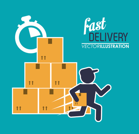 chronometer: box package man chronometer fast delivery shipping icon. Colorfull illustration. Vector graphic Illustration
