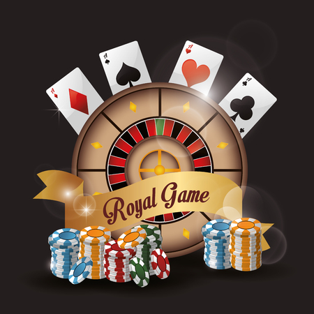 losing money: roulette cards chips casino las vegas game icon. Colorfull illustration. Vector graphic Stock Photo