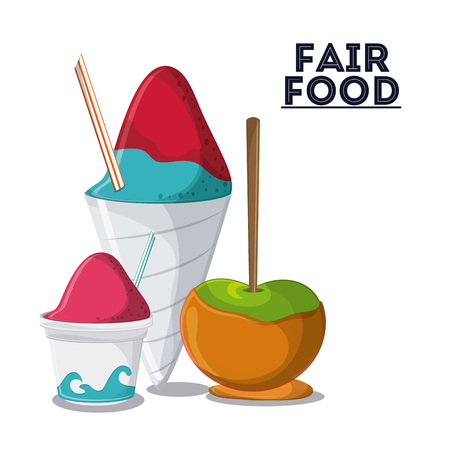 ice cream stand: ice cream apple fair food snack carnival festival icon. Colorfull illustration. Vector graphic Stock Photo