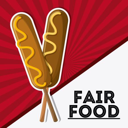 corn dog fair food snack carnival festival icon. Colorfull illustration. Vector graphic Stock Photo