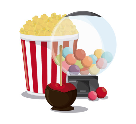 apple cotton candy pop corn fair food snack carnival festival icon. Colorfull illustration. Vector graphic
