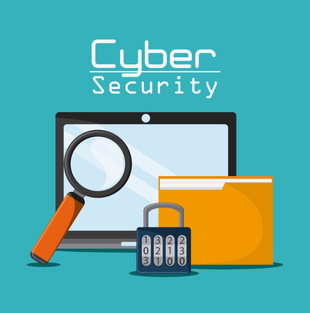 lupe: laptop lupe padlock file cyber security system protection icon. Colorfull illustration. Vector graphic