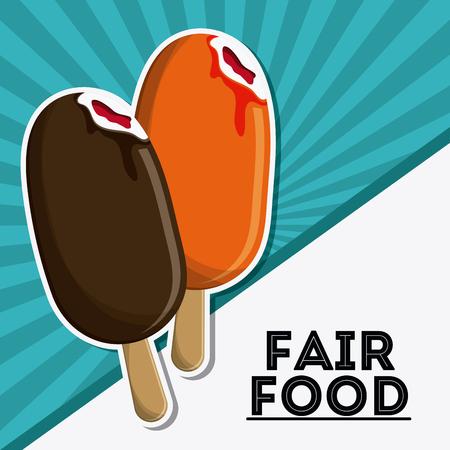 ice cream stand: ice cream fair food snack carnival festival icon. Colorfull illustration. Vector graphic