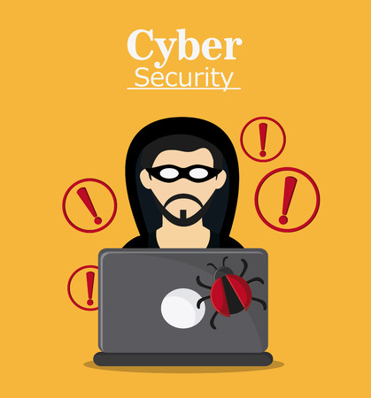 fatal: hacker thief laptop bug cyber security system protection icon. Colorfull illustration. Vector graphic