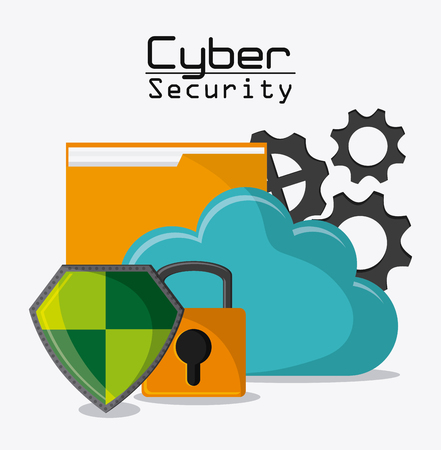 protection gear: file padlock shield gears cloud cyber security system protection icon. Colorfull illustration. Vector graphic