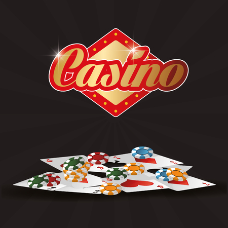 addicted: cards chips casino las vegas game icon. Colorfull illustration. Vector graphic