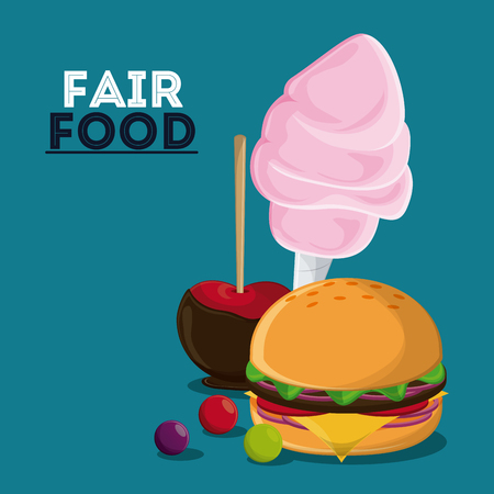 cotton candy: apple cotton candy hamburger fair food snack carnival festival icon. Colorfull illustration. Vector graphic Stock Photo