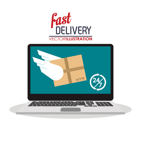 fast computer: computer wings box package fast delivery shipping icon. Colorfull illustration. Vector graphic Illustration