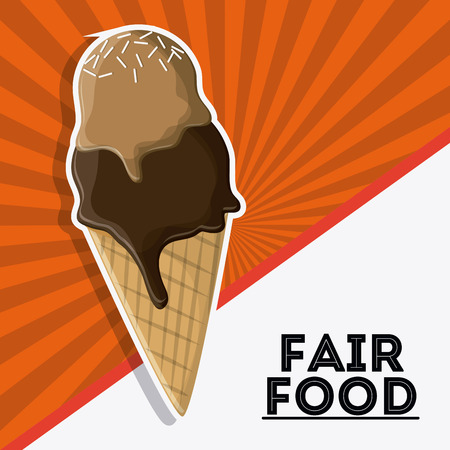 county fair: ice cream fair food snack carnival festival icon. Colorfull illustration. Vector graphic