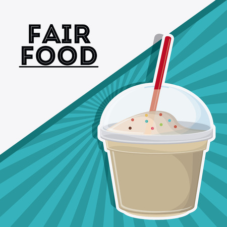 milk shake fair food snack carnival festival icon. Colorfull illustration. Vector graphic Illustration